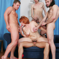 This sinful redhead mom needs 4 younger studs to satisfy her itching sex-starved pussy