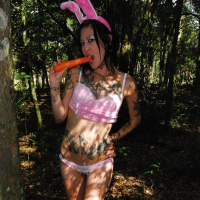 Tattooed amateur teen Easter Bunny cutie with carrot
