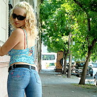 Blonde in tight denim jeans gets filmed sucking a monster cock