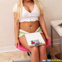 Cute blond teen Andi Heart shows off blowjob skills