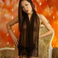 Longhaired asian show her hot body