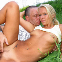 Blonde gets cock inside her tight asshole outdoor