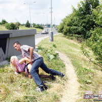 Horny old senior shagging a girl near the highway