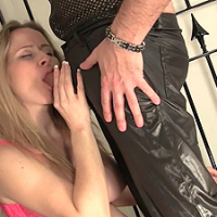 Poor prisoner Tinkerbell now gets her pussy fingered by the warden, before having to suck up all his cock juices