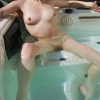 Pale Skinned Gothic Beauty Annika Amour in the Hot Tub