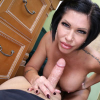 Horny busty milf stroking big cock of her step son
