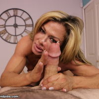 Toned, tanned and tight MILf Nina stroking big cock