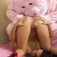 Full titted Asian hottie, Asa Akira bares her yellow lingerie to be heavily hammered pet by her horny pig!